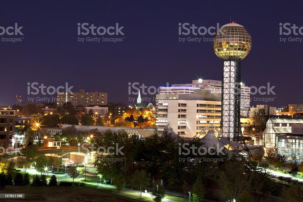 Downtown Knoxville TN skyline night stock photo
