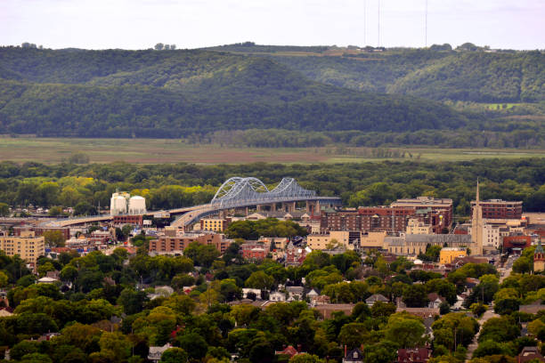 Downtown La Crosse from Above View of downtown La Crosse, Wisconsin and the Mississippi River from above wisconsin stock pictures, royalty-free photos & images