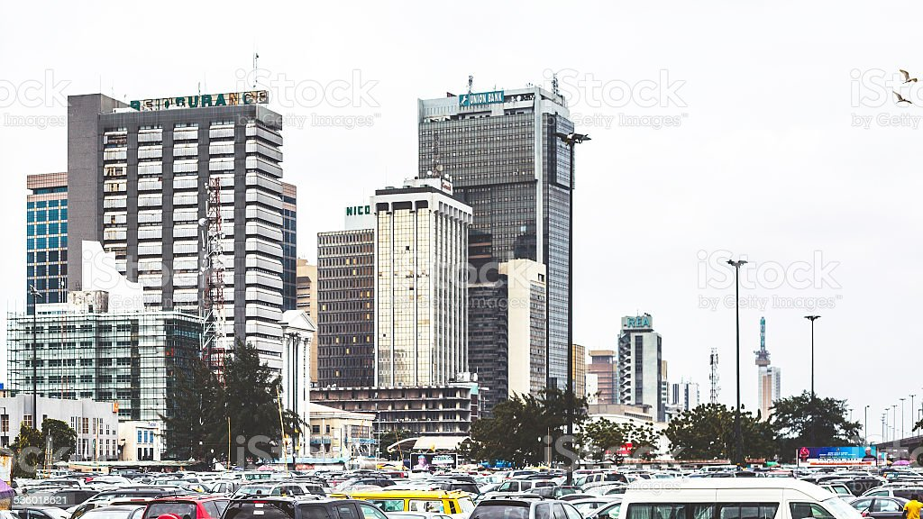 Downtown Lagos, Nigeria. stock photo