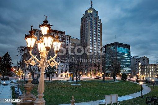 A view of downtown Lansing Michigan, USA.