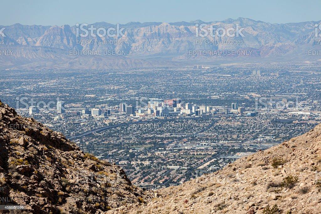 Downtown Las Vegas and Spring Mountains stock photo