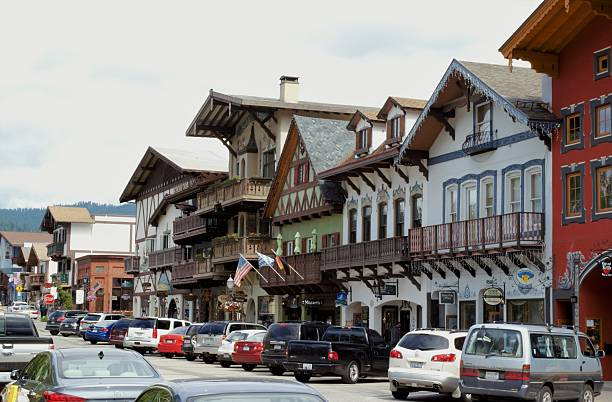 downtown leavenworth - leavenworth washington stock photos and pictures