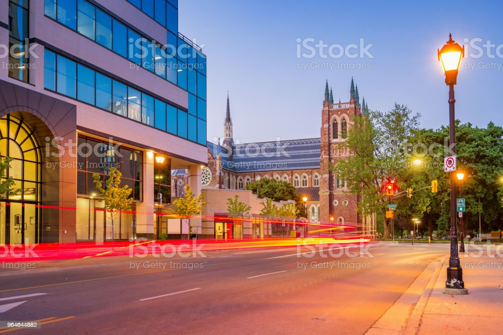 Downtown London Ontario Canada with St Peter's Cathedral Basilica royalty-free stock photo