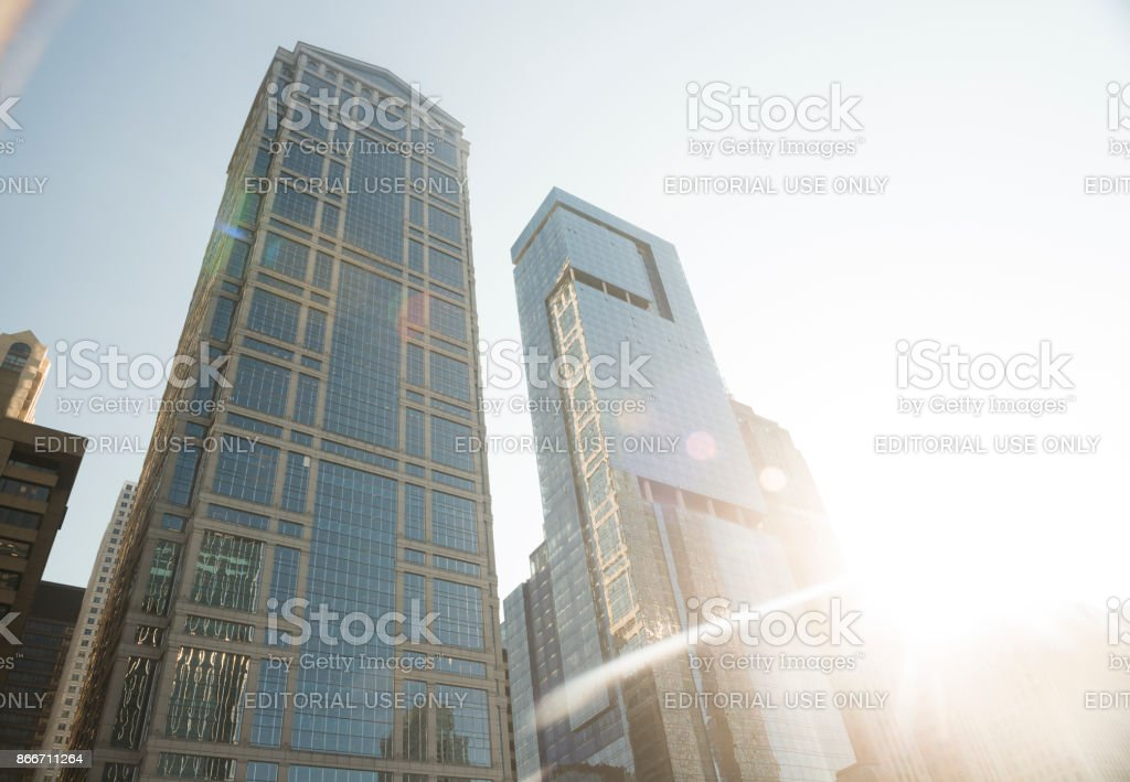 Downtown Loop Luxury Chicago Waterside Drive Building Architecture stock photo