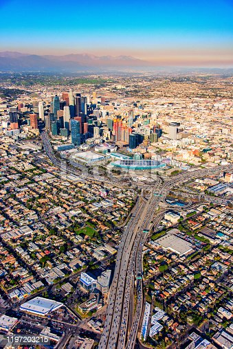 The downtown and surrounding neighborhoods of the city of Los Angeles, California from an altitude of about 1500 feet.