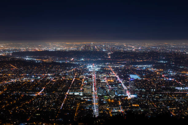 Downtown Los Angeles and Glendale at Night stock photo