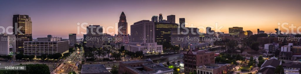 Downtown Los Angeles at Dusk - Aerial Panorama stock photo
