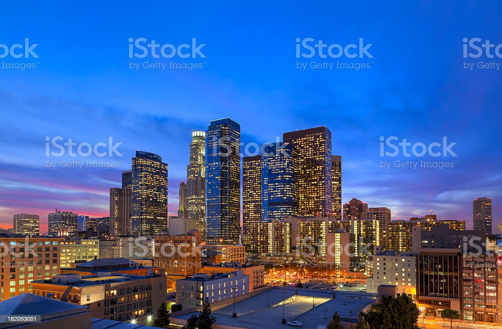 Downtown Los Angeles at Dusk royalty-free stock photo