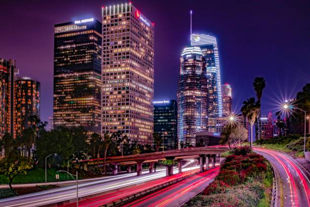 Downtown Los Angeles at Night Freeway Overpass stock photo