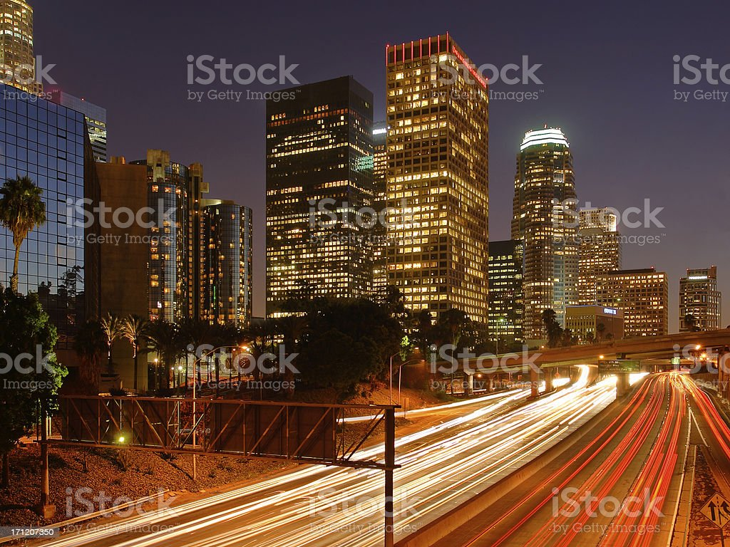 Downtown Los Angeles at night royalty-free stock photo
