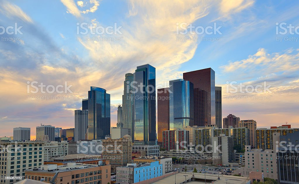 Downtown Los Angeles at Sunset royalty-free stock photo