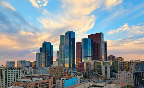 Downtown Los Angeles at Sunset stock photo
