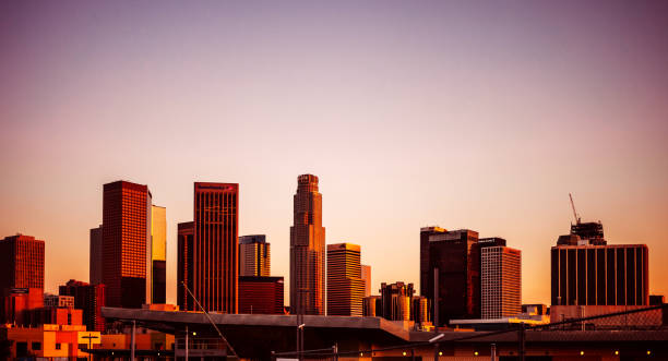 Downtown Los Angeles at sunset time stock photo
