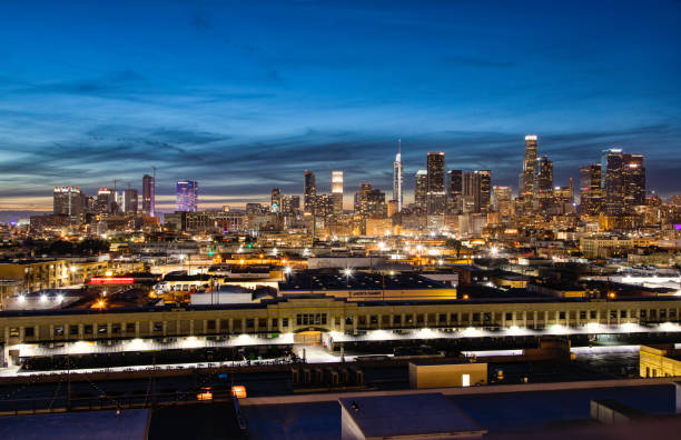 Downtown Los Angeles at twilight. stock photo