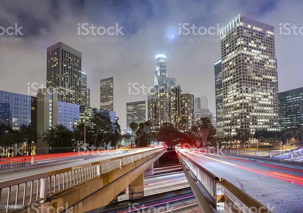 Downtown Los Angeles at Twilight stock photo