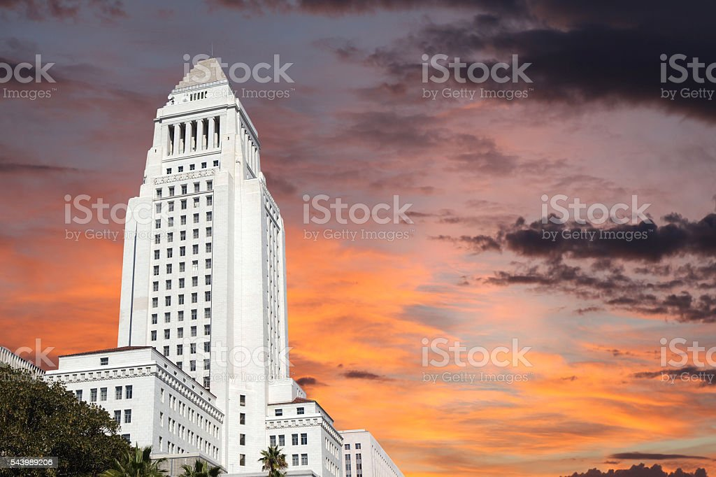 Downtown Los Angeles City Hall Building with Sunrise Sky. stock photo