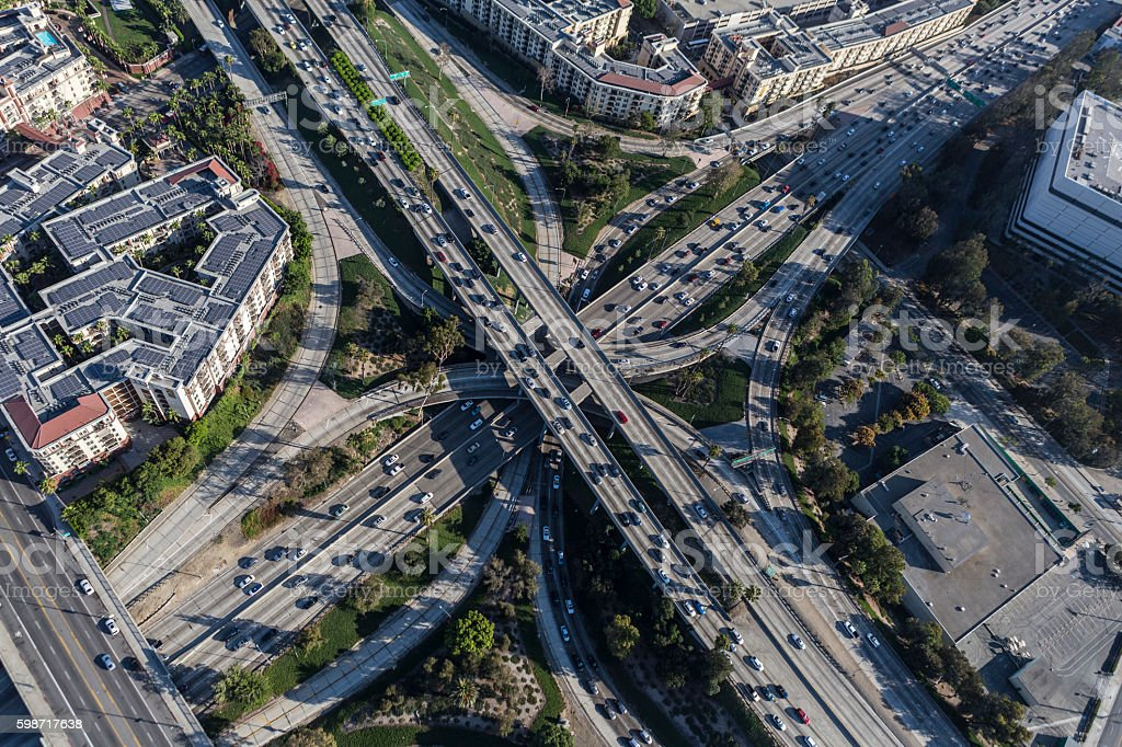 Downtown Los Angeles Four Level Freeway Interchange Aerial stock photo