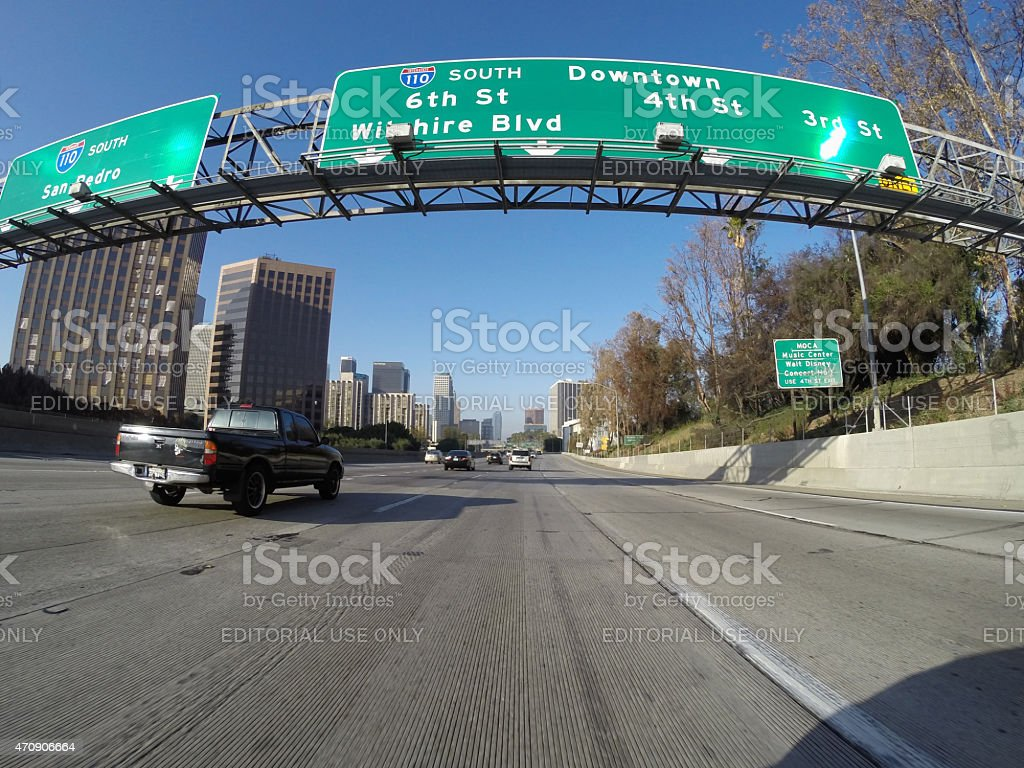 Downtown Los Angeles Freeway Exits stock photo