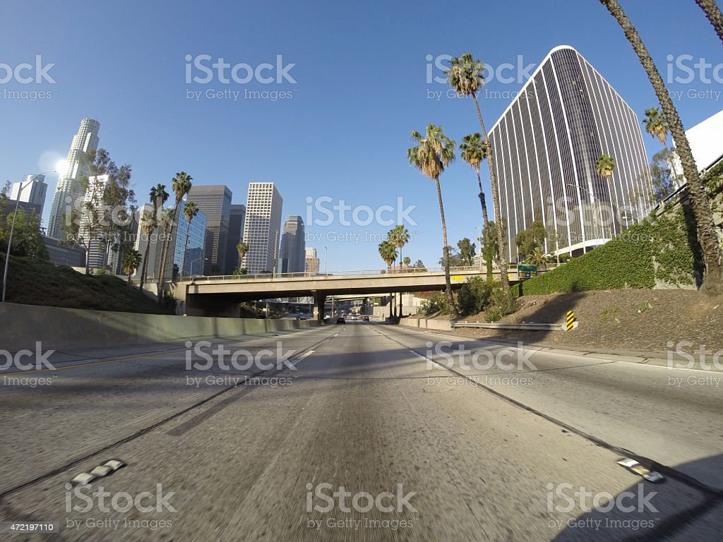 Downtown Los Angeles Freeway stock photo