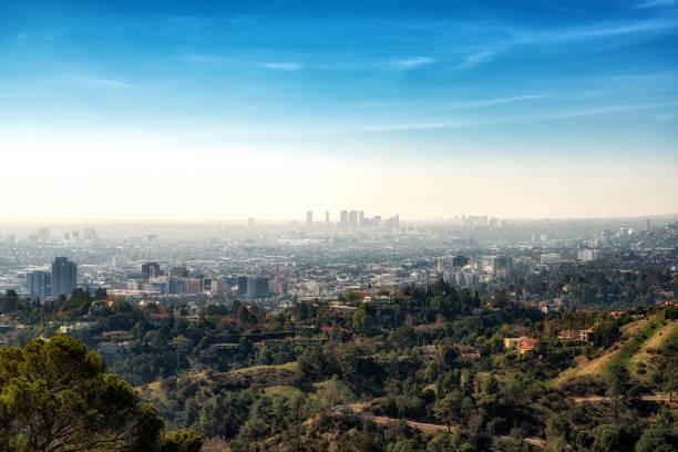 los angeles centrum från hollywood hills - hollywood sign bildbanksfoton och bilder