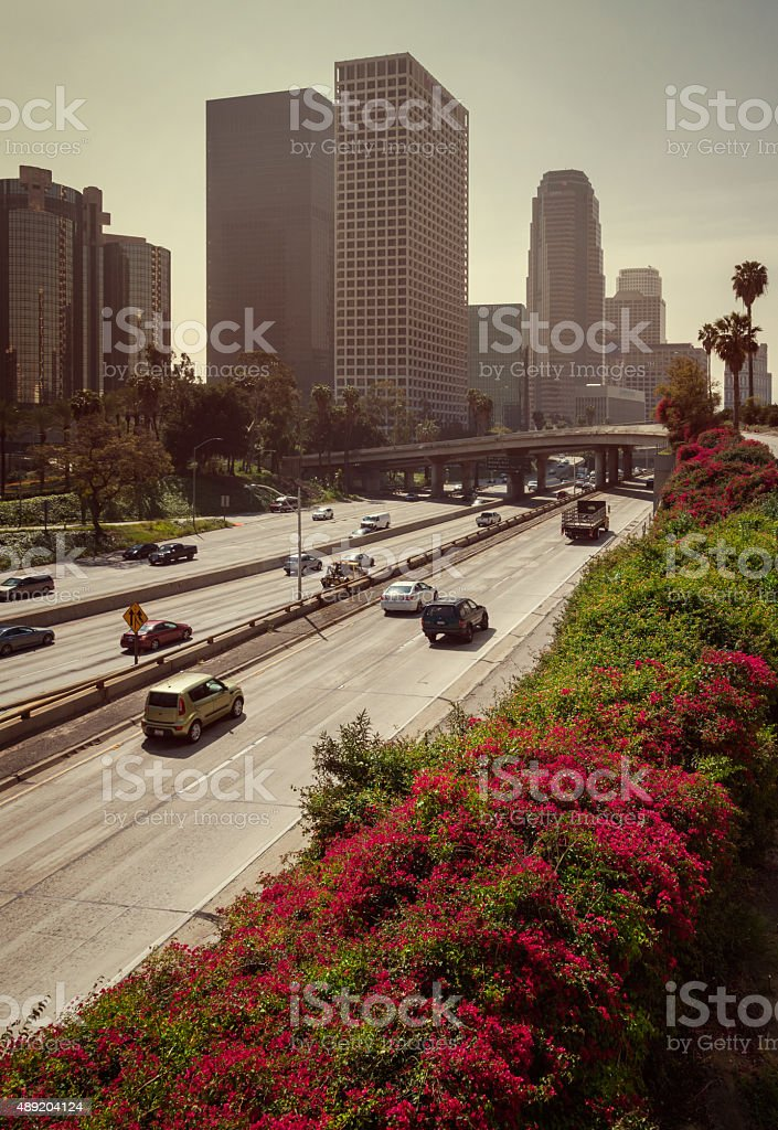 Downtown Los Angeles Harbor Freeway stock photo