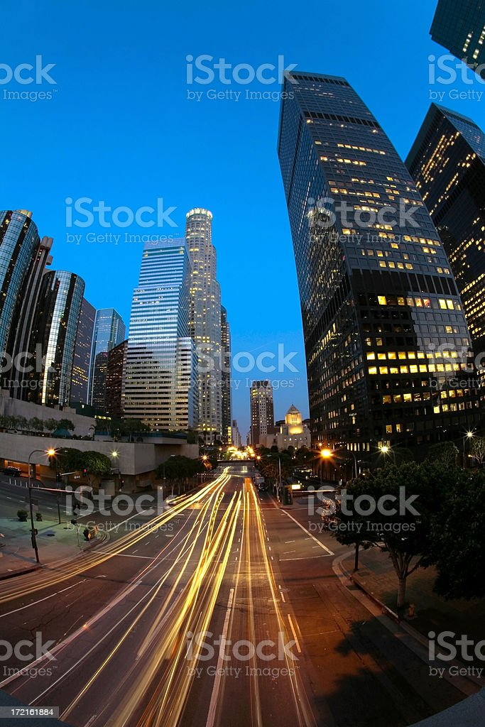 Downtown Los Angeles Long Exposure at Twilight royalty-free stock photo
