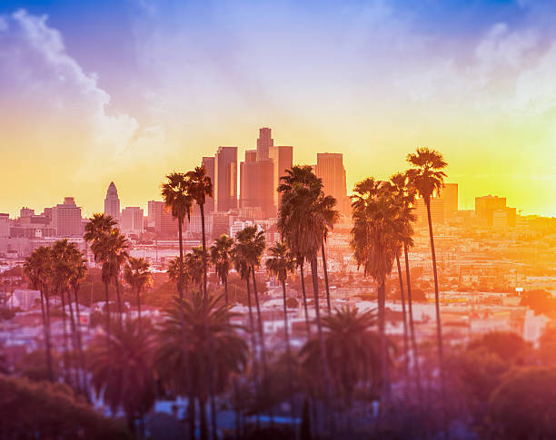 Downtown Los Angeles photographed at sunset Downtown Los Angeles hollywood california stock pictures, royalty-free photos & images