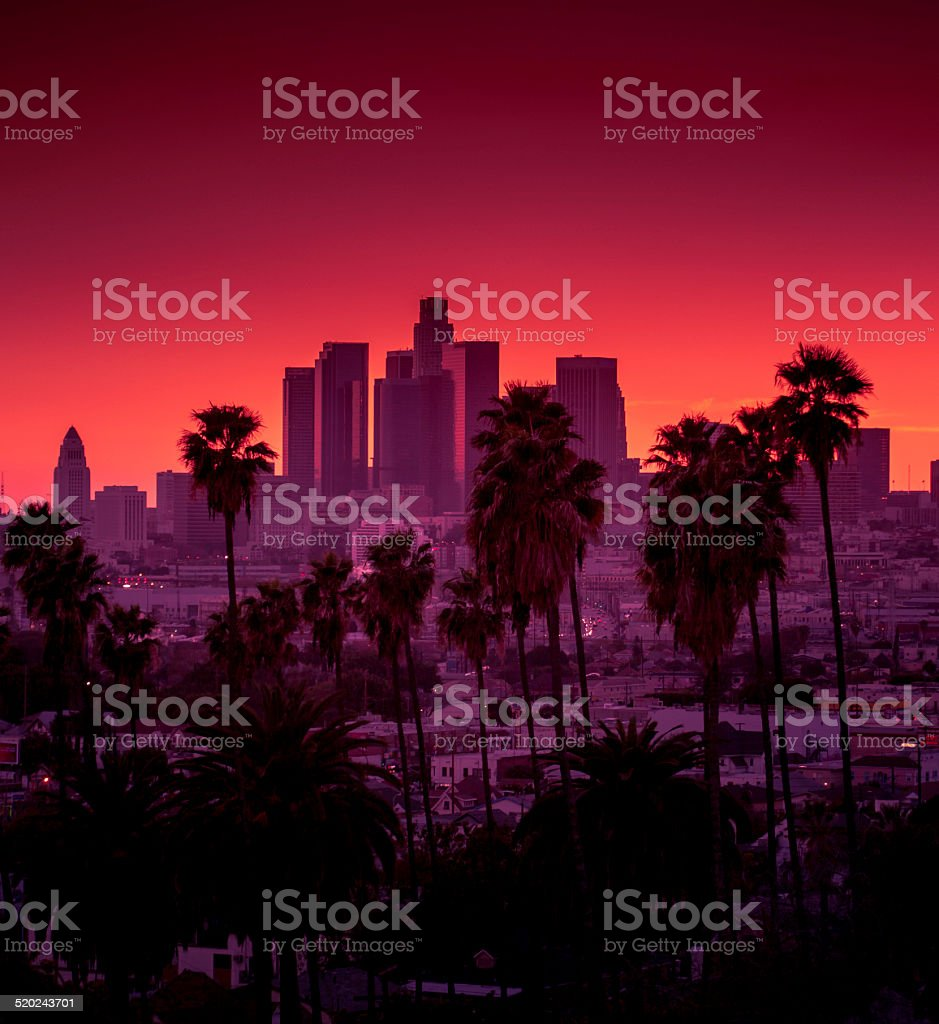 Downtown Los Angeles photographed at sunset royalty-free stock photo