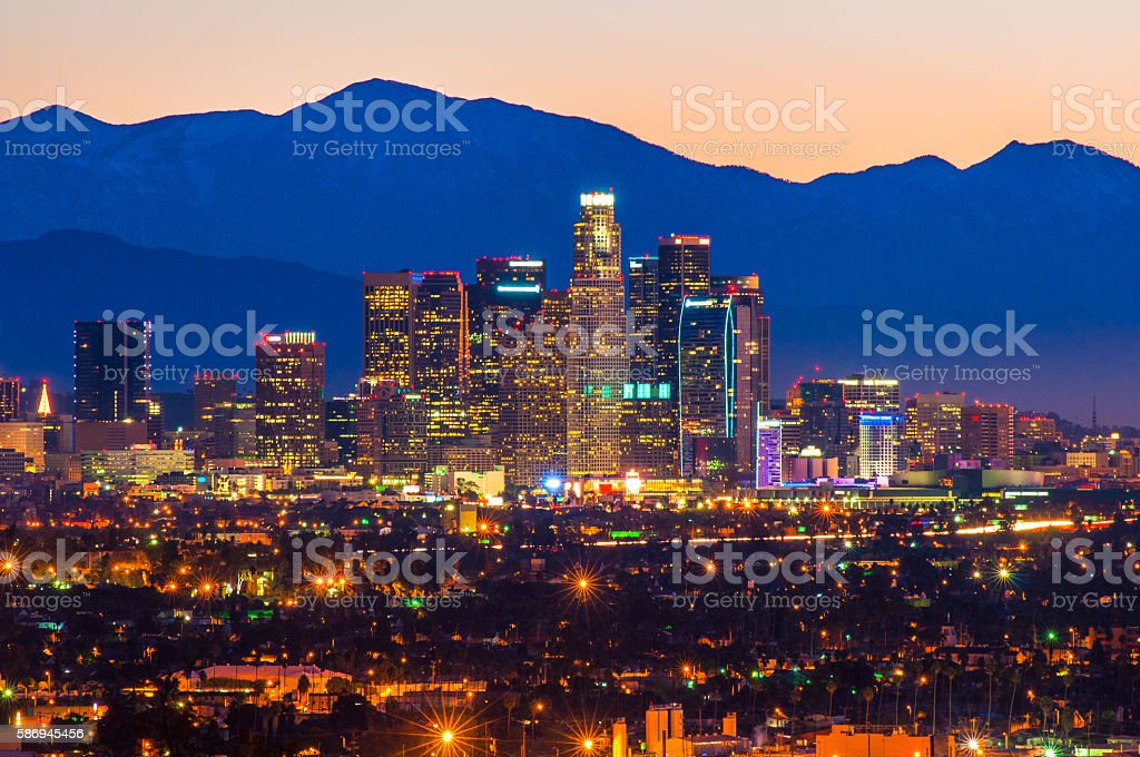 Downtown Los Angeles Skyline at Dawn with Mount Baldy stock photo