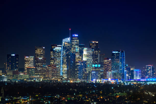 Downtown Los Angeles  skyline at night stock photo