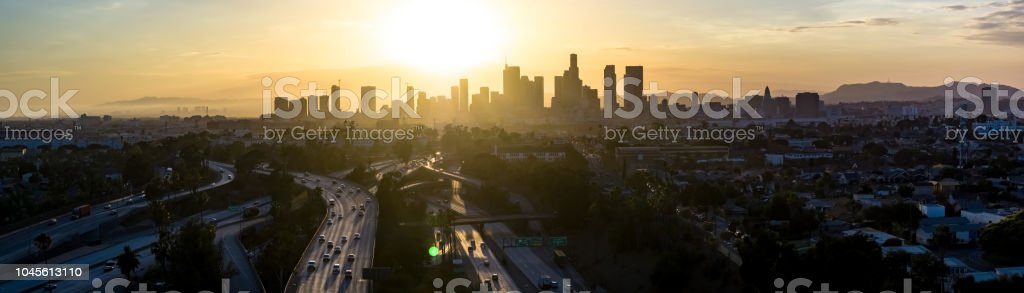 Downtown Los Angeles Skyline at Sunset - Aerial Panorama stock photo