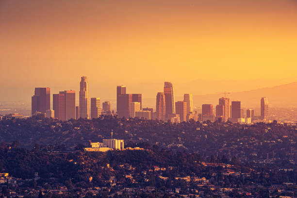 Downtown Los Angeles skyline at sunset stock photo