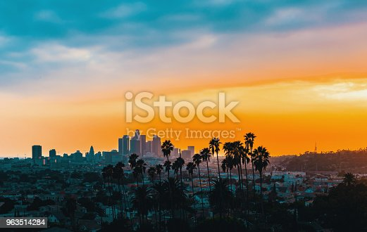 Downtown Los Angeles skyline at sunset with palm trees in the foreground