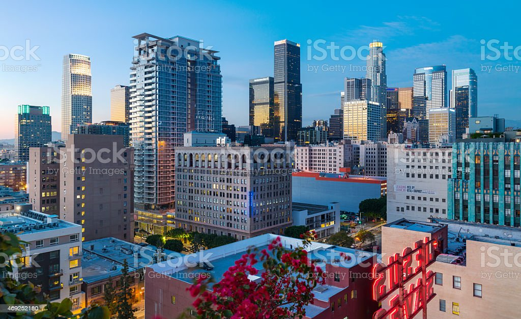 Downtown Los Angeles Skyline at Twilight stock photo