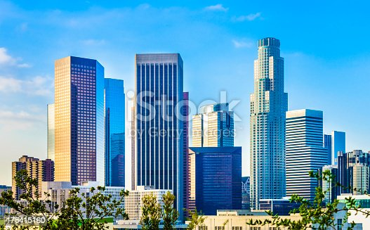 Downtown Los Angeles skyline, financial district, bank buildings