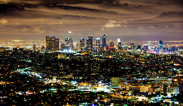 Downtown Los Angeles Skyline - Night stock photo