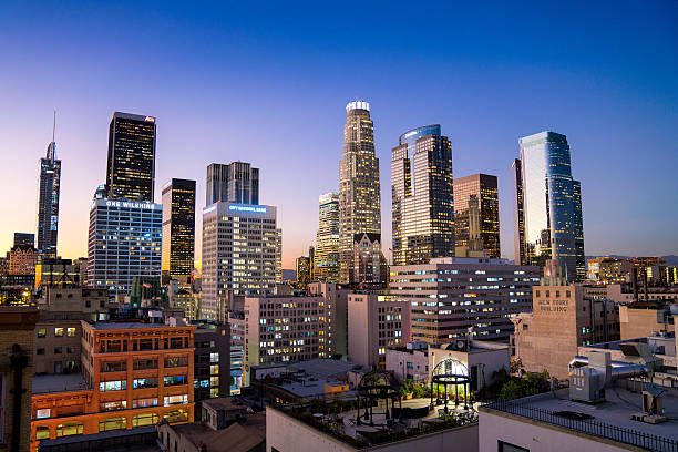 downtown los angeles skyline - financial district stock pictures, royalty-free photos & images