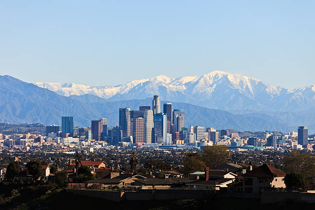 Downtown Los Angeles Skyline with mountain background. stock photo