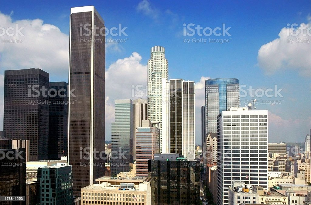 Downtown Los Angeles skyscrapers stock photo
