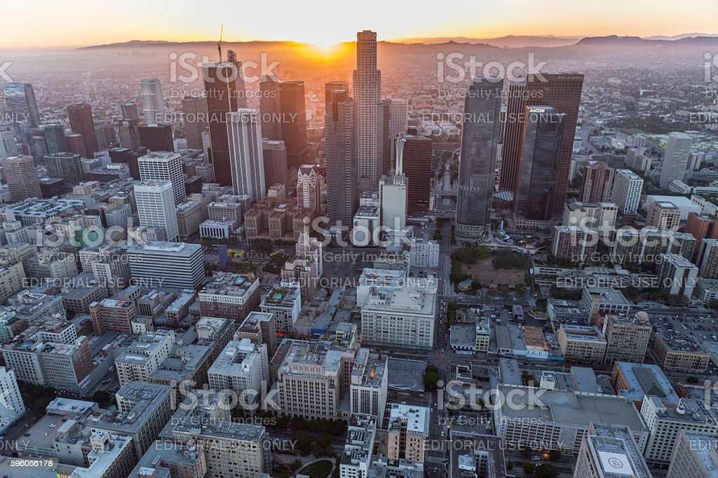 Downtown Los Angeles Sunset Aerial royalty-free stock photo