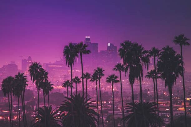 downtown los angeles ultraviolet - twilight stock photos and pictures