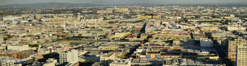 Downtown Los Angeles Warehouse District Panorama Looking East stock photo