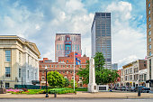 Stock photograph of Jefferson Street and town square in downtown Louisville Kentucky USA on a cloudy day.