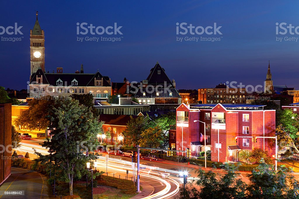 Downtown Lowell Massachusetts stock photo