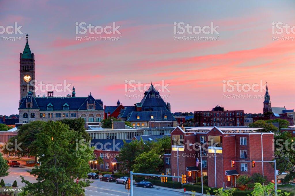 Downtown Lowell, Massachusetts stock photo