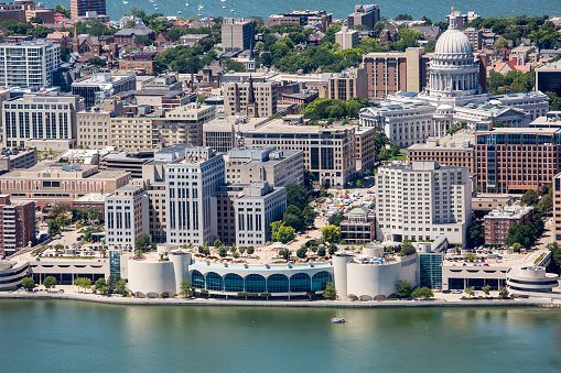 Downtown Madison from air with Monona Terrace and Capitol