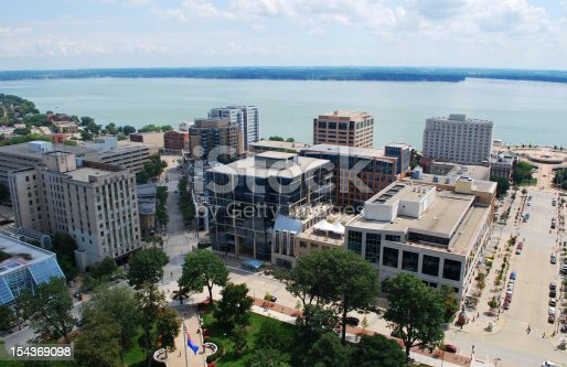 Looking southeast over downtown Madison, Wisconsin.  Taken from the top of the Capitol building.