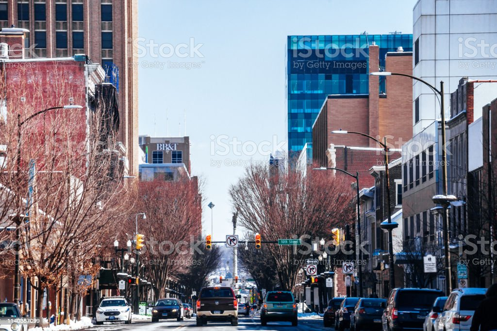 Downtown main street of Allentown, PA stock photo