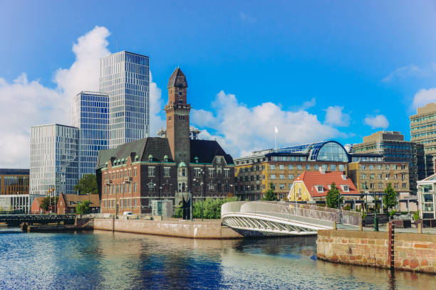 downtown malmo with old and modern buildings, sweden - sweden stock pictures, royalty-free photos & images