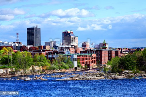 Downtown Manchester, New Hampshire along the banks of the Merrimack River